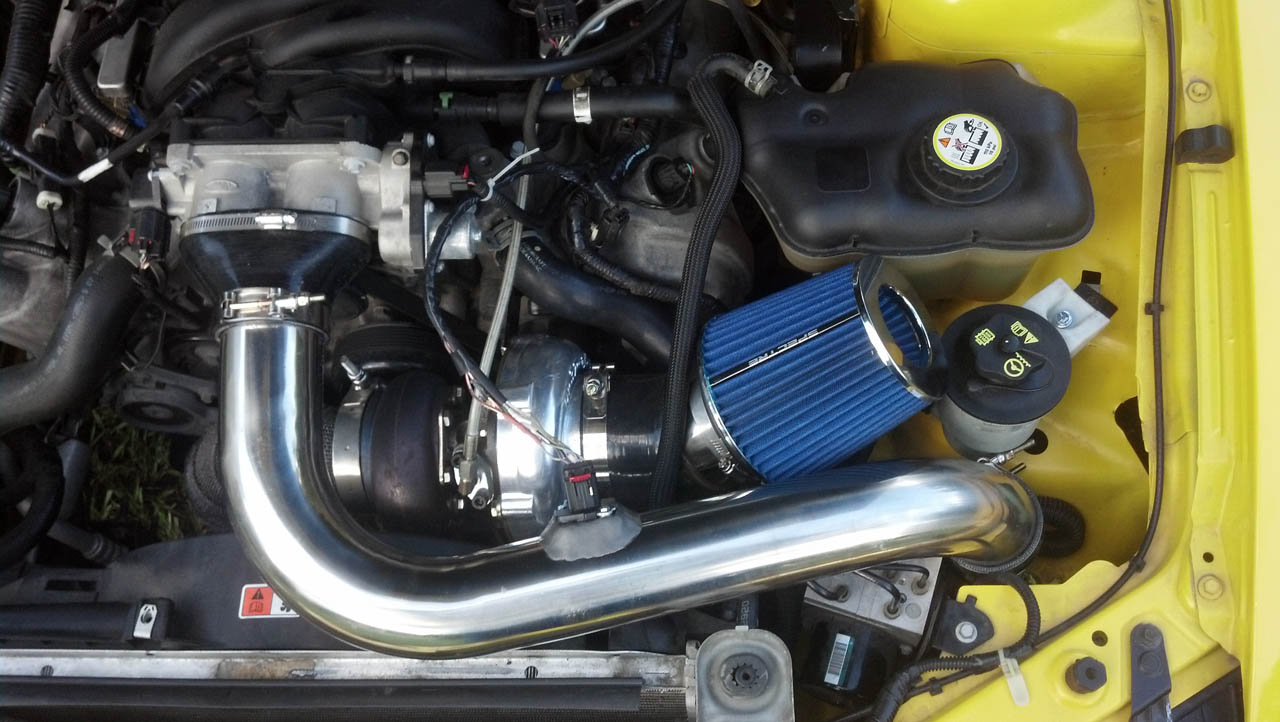 Yellow 2005 Ford Mustang GT 70mm On3 Performance Turbo