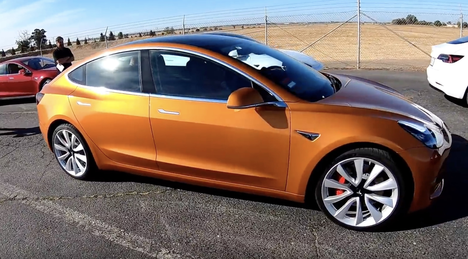 2018 orange Tesla Model 3 Dual Motor Performance picture, mods, upgrades