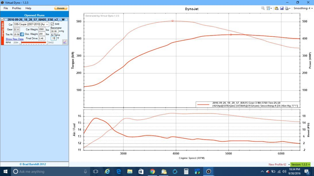 2007 Blue BMW 335i E92  Dyno Graph